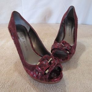 """Marc Fisher Deep Red Cranberry Suede 4"""" High Heels"""